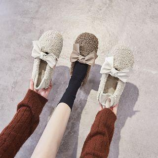 Bow Accent Faux-shearling Flats