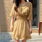 Smocked-waist Floral Print Chiffon Dress Yellow - One Size