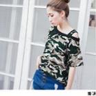 One Shoulder Camouflage T-shirt