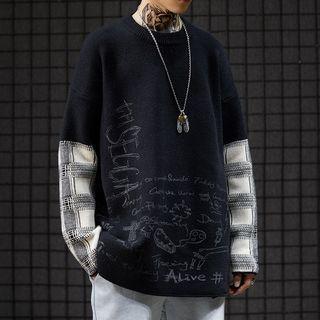 Plaid Panel Drawing Print Sweater