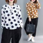 Long-sleeve Polka Dot Polo Shirt