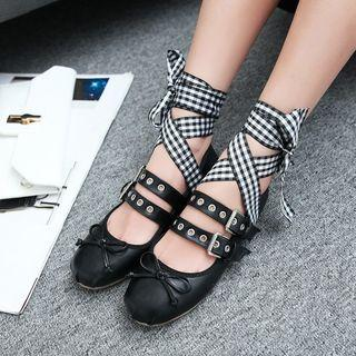 Buckled Lace Up Flats