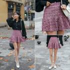 Ruffle-hem Lace Miniskirt
