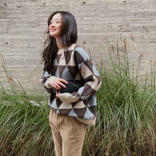 Drop-shoulder Patterned Knit Top Sky Blue - One Size