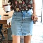 Fray-hem Distressed Denim Pencil Skirt