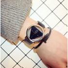 Triangle Strap Watch With Box + Nail Bangle - Black Strap & White Case - One Size