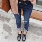 Cuff-hem Distressed Skinny Jeans
