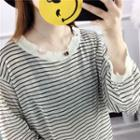 Striped Distressed Long-sleeve Knit Top
