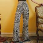 Plain Camisole / Zebra Print Wide-leg Pants