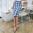 Buttoned Check Linen Pencil Skirt