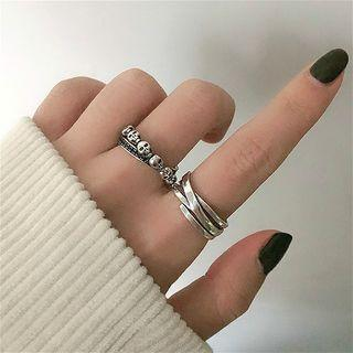925 Sterling Silver Layered / Skull Open Ring