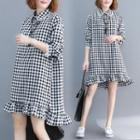 Lace Trim Collar Long-sleeve Gingham A-line Dress Gingham - Black & White - One Size