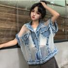 Denim Panel Sheer Vest As Shown In Figure - One Size