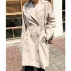 Drawstring-waist Double-breasted Trench Coat