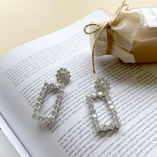 Rhinestone Square Earrings Silver - One Size