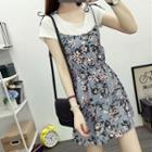 Floral Print Strap Chiffon Dress
