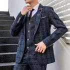 Set: Plaid Blazer + Buttoned Vest + Dress Pants