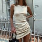 Drawstring Sleeveless Mini Sheath Dress