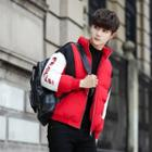 Lettering Color Block Padded Zip Jacket