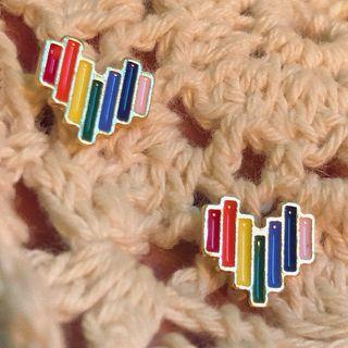 Striped Heart Stud Earring 0164a# - 1 Pair - Classic Earrings - Multicolor - One Size