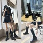 Knit Panel Buckled Tall Boots