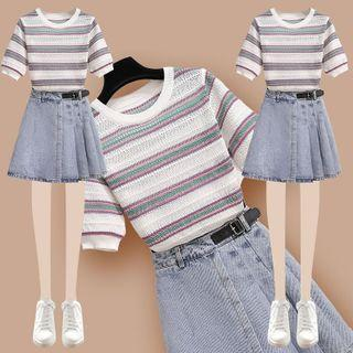 Short-sleeve Striped Knit Top / Denim Mini A-line Skirt