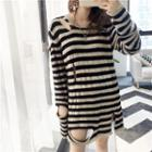 Striped Cut Out Long Sweater