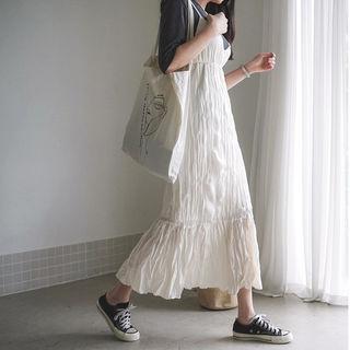 Crinkled Maxi Pinafore Dress