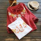 Long-sleeve Bow-accent Embroidery Blouse