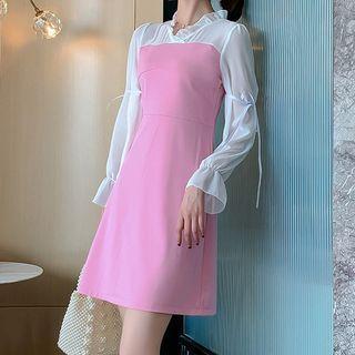Long-sleeve Two Tone Shift Dress