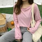 Long-sleeve T-shirt / Cropped Drawstring Wide Leg Pants