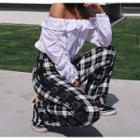 Buckled-side Straight-cut Plaid Pants