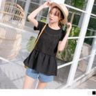 Mock Two Piece Lace Panel Short-sleeve Top