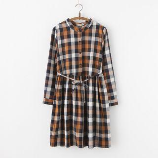 Plaid Long Sleeve Dress With Cord