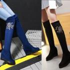 Flower-accent Wedge Tall Boots