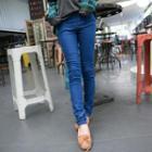 Band-waist Stitched Skinny Jeans