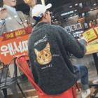 Cat Embroidered Mock-neck Sweater