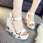 Wedge-heel Platform Flower Sandals