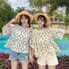 Pineapple Print Elbow-sleeve Blouse