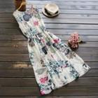 Sleeveless Floral Drawstring Dress