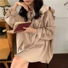 Long-sleeve Frill Trim Sailor Collar Shirt
