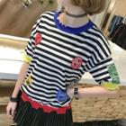 Patch Embroidered Striped Short Sleeve Knit Top