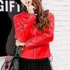 Lace-up Sleeve Faux-leather Biker Jacket