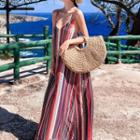 Strappy Striped Maxi Dress As Shown In Figure - One Size