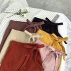 Plain Buttoned A-line Skirt