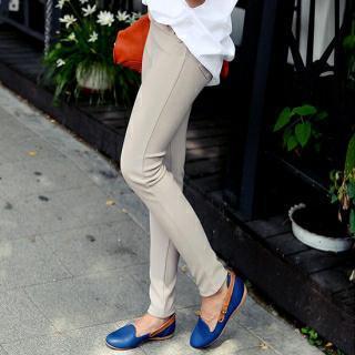 Band-waist Slim-fit Pants
