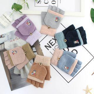 Embroidered Bear Fingerless Gloves