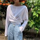 Long-sleeve Back-tie T-shirt White - One Size