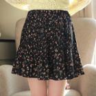 Accordion-pleated Floral Miniskirt