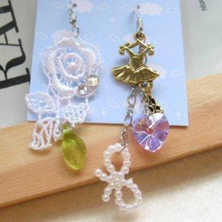 Dazzling Golden Ballet And Lace Flower With Swarovski Crytal Earrings